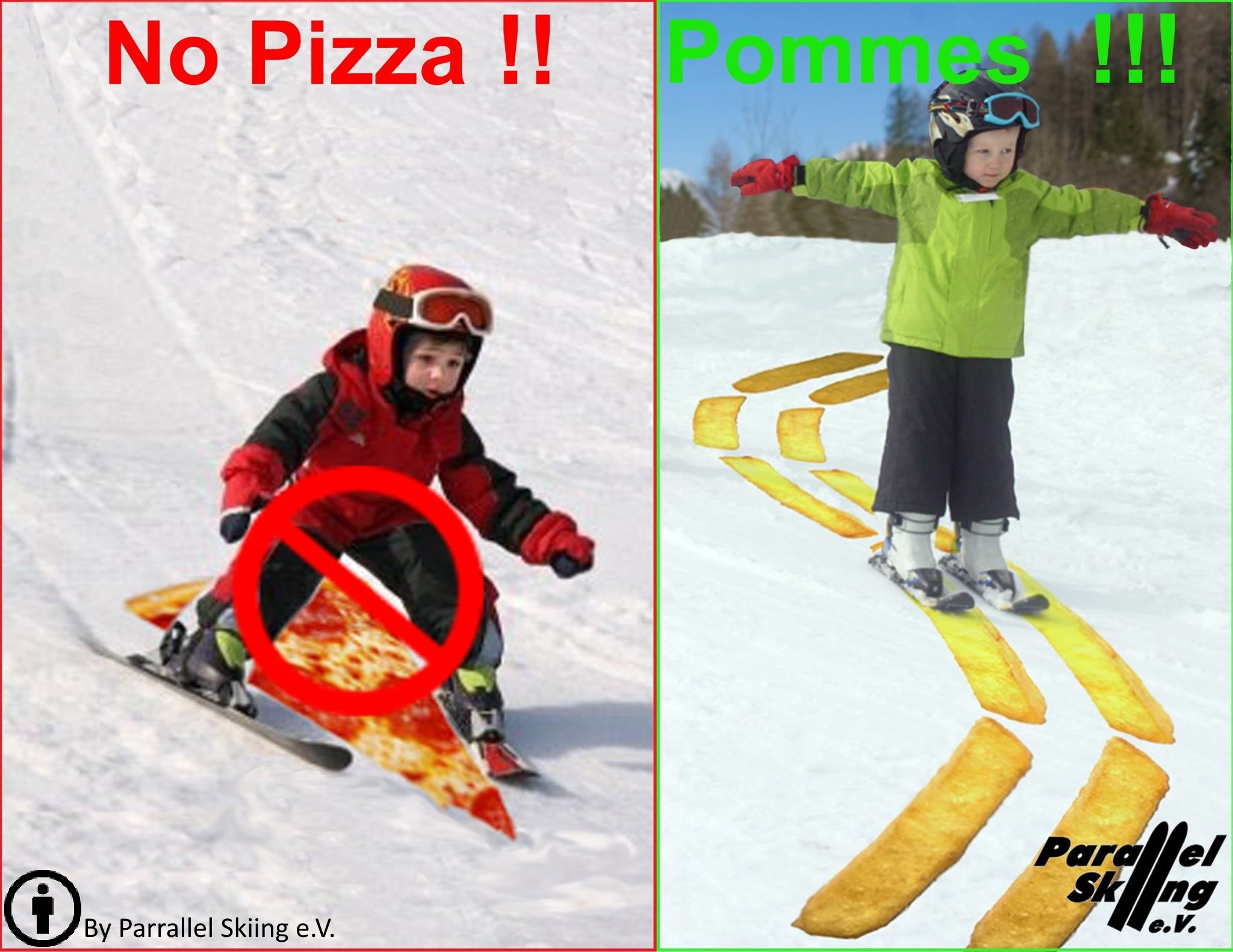 Kid making pizza wedge with skis; Kid making parallel chips with skis