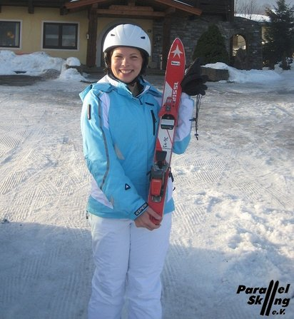 Second Day Skiier proud of her short skis